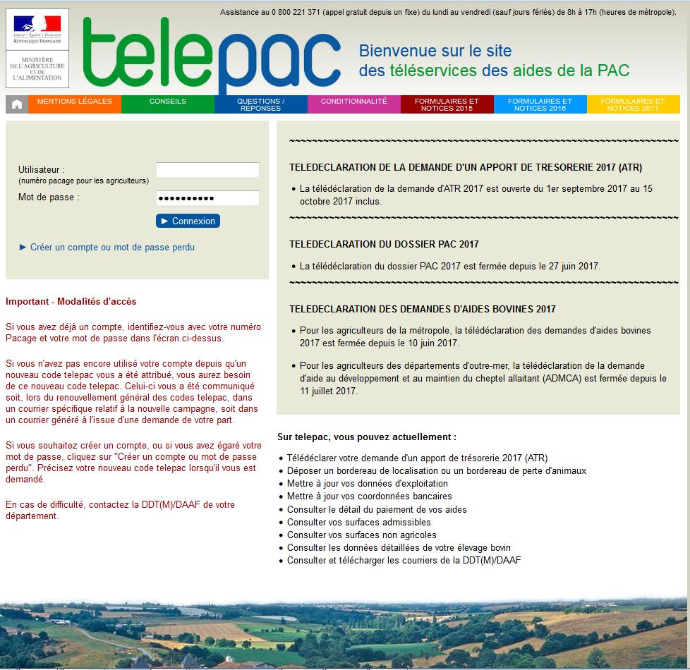Page d'accueil site TéléPAC